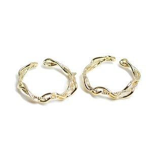 【2個入り】曲線の絡み合いの光沢ゴールドフリーリング、指輪