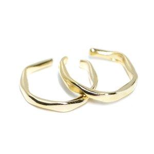 【1個】手作り感ある曲線の光沢ゴールドイヤーカフ 、イヤーフック