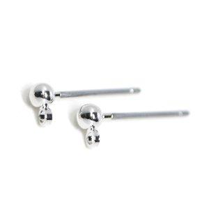 【10個入り】チタン芯!シンプルなカン付き3mmボール付きシルバーピアス