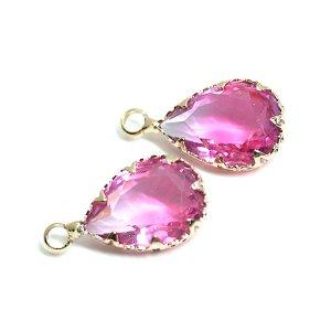 【1個】ピンク&ローズピンクの2色ガラスしずく形ゴールドチャーム