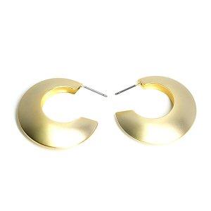 【1ペア】チタン芯!大ぶりサークル形約31mmマットゴールドピアス、パーツ