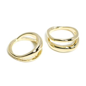 【2個入り】存在感ある大振りの二連ゴールドリング、指輪
