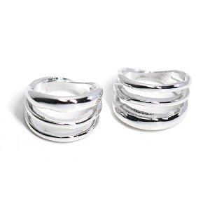 【2個入り】存在感ある大振りの三連シルバーリング、指輪