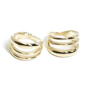 【2個入り】存在感ある大振りの三連ゴールドリング、指輪