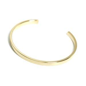 【1個】重みあるシンプルな真鍮製16Kゴールドプレートバングル、ブレスレット