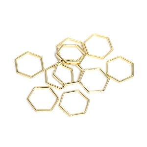 【10個入り】約10mm / 約1mm ヘキサゴン形ゴールドフレーム、チャーム