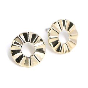【1ペア】チタン芯!約13mm立体的でシンプルな円形ゴールドピアス、パーツ