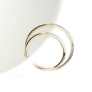 【2個入り】華奢な約16mmのDouble Circle ゴールドイヤーカフ、軟骨ピアス