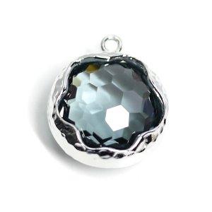 【1個】チャコールグレーカラーボリューム円形ガラスシルバーチャーム、パーツ