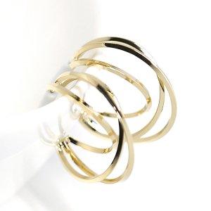 【1ペア】チタン芯!立体的な大ぶり!三連サークル形ゴールドフープピアス、パーツ