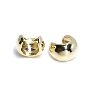 【2個入り】ふっくらみあるキュートな円形ゴールドイヤーカフ、軟骨ピアス