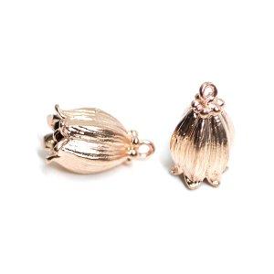 【2個入り】鈴蘭lily bellモチーフのマットピンクゴールドコネクター、チャーム