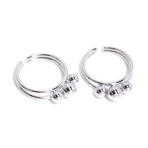 【1個】大きさ違いの三つボールのシルバーリング、レディース指輪
