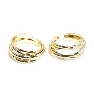 【1個】五つの曲線が絡み合うゴールドリング、レディース指輪