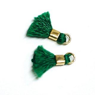 【6個入り】刺繍糸tasselグリーンカラーミニタッセル|ハンドメイド材料|アクセサリーパーツ