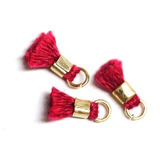 【6個入り】刺繍糸tasselオリエンタルレッドカラーミニタッセル|ハンドメイド材料|アクセサリーパーツ