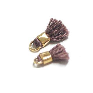 【6個入り】刺繍糸tasselコーヒーブラウンカラーミニタッセル|ハンドメイド材料|アクセサリーパーツ