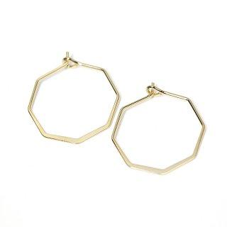 【4個入り】光沢ゴールドSharp Hexagon ヘキサゴン形ピアスフック、パーツ