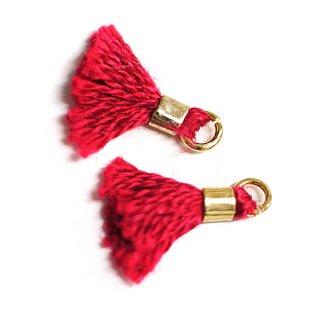 【5個入り】刺繍糸tasselオリエンタルレッドカラーMediumタッセル、チャーム|ハンドメイド材料|アクセサリーパーツ