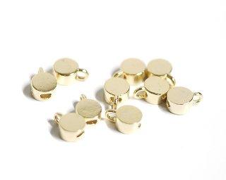 【6個入り】約3mm円形光沢ゴールド留め金具、ストッパー