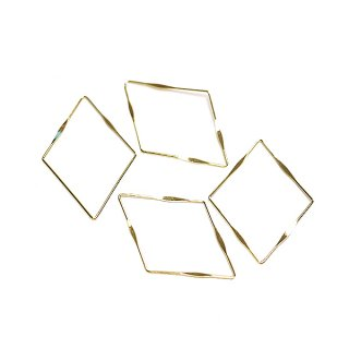 【4個入り】華奢なしずく型光沢ゴールドコネクター、チャーム、パーツ