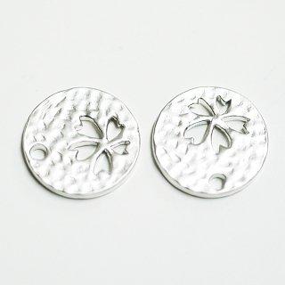 【2個入り】凹凸あるコインモチーフに刻まれたsakura桜!マッドシルバーチャーム