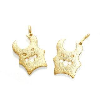 【2個入り】Petit Halloween Devil キュートな悪魔モチーフの質感あるゴールドチャーム、パーツ