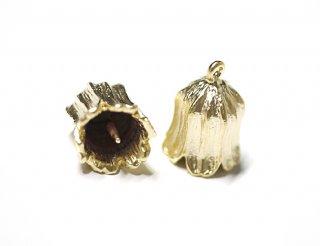 【2個入り】鈴蘭lily bellモチーフのパールやストーンをつけるゴールドチャーム|ハンドメイド材料|アクセサリーパーツ