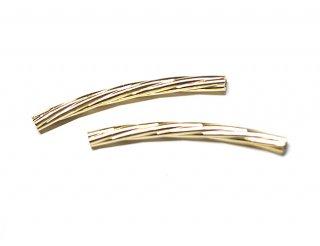 【4個入り】約25mm 光沢ゴールドツイストパイプチャーム、パーツ