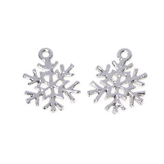 【6個入り】プチ雪の結晶Snow Flakeシルバーチャーム、ペンダント