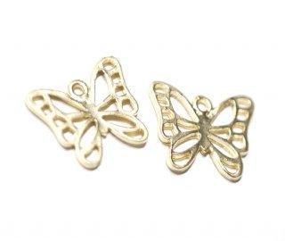 【4個入り】透かし蝶々Butterflyモチーフマッドゴールドチャーム