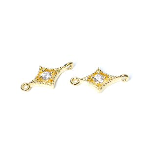 【2個】一粒CZ付きダイヤモンド型ゴールドコネクター