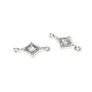 【2個】一粒CZ付きダイヤモンド型シルバーコネクター