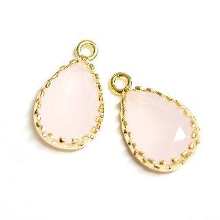 【2個入り】GlassパステルピンクPastel Pinkカラーしずく形ゴールドチャーム