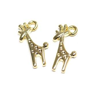 【2個入り】Cute Giraffeキリンモチーフゴールドチャーム、パーツ