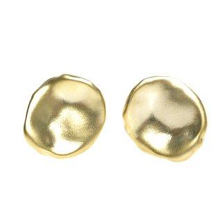 予約販売【1ペア】手作り感ある円形ネジバネ&カン付きマッドゴールドイヤリング、パーツ