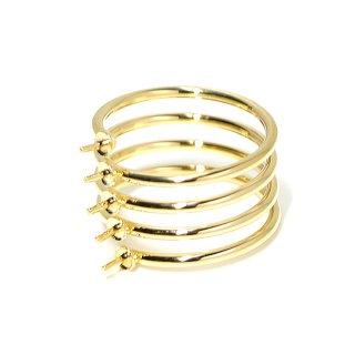 【1個】5本ピートン付きスプリング光沢ゴールド指輪、リング製作台