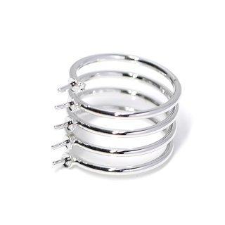 【1個】5本ピートン付きスプリング光沢シルバー指輪、リング製作台