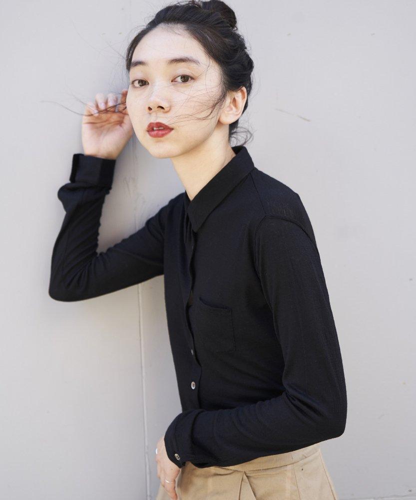 【MOON0910】ウォッシャブルカシミアシャツ -Shine- BLK