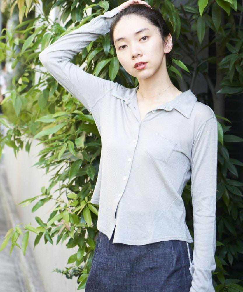 【MOON0910】ウォッシャブルカシミアシャツ -Shine- GRY