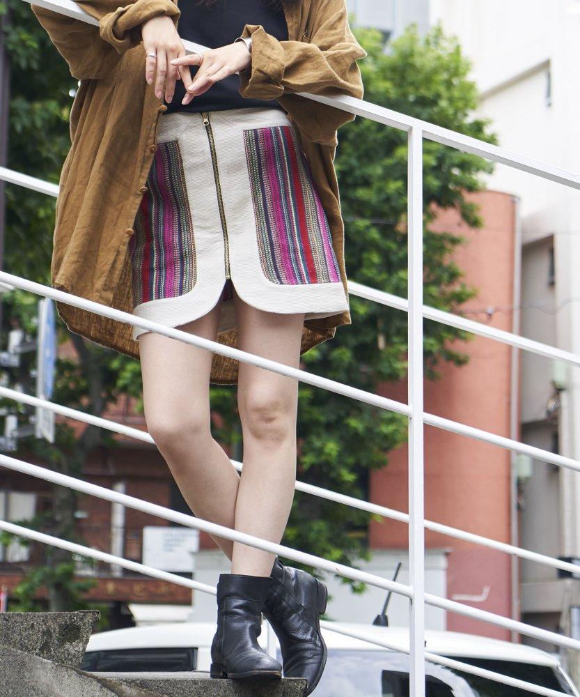 【INHEELS】バナナ切り替えジップスカート