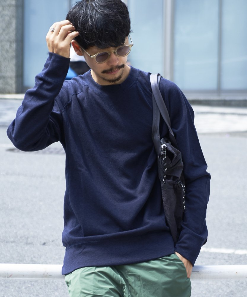 【ATON】WATA DOUBLE SWEAT SHIRTS 【NVY】