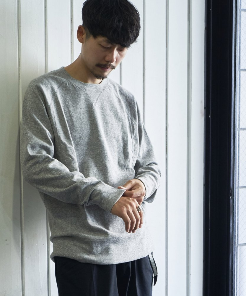 【ATON】WATA DOUBLE SWEAT SHIRTS GRY