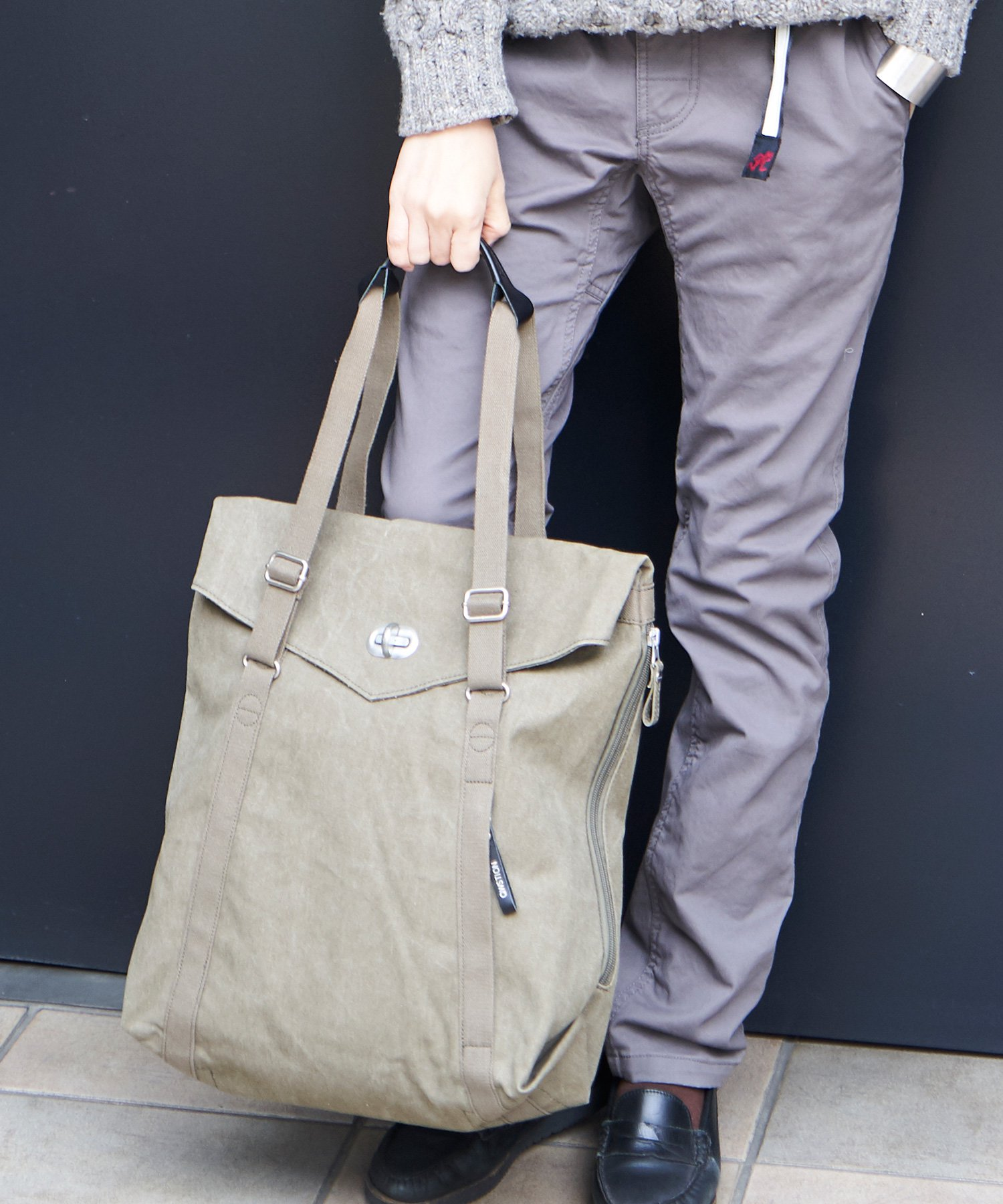 【QWSTION】Tote Organic Olive