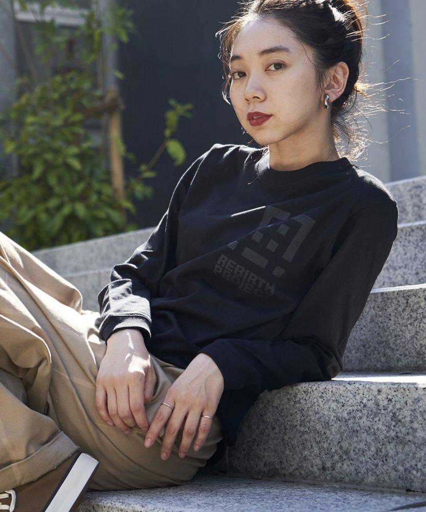 【REBIRTH PROJECT】同色ロゴ ロングスリーブTシャツ BLK