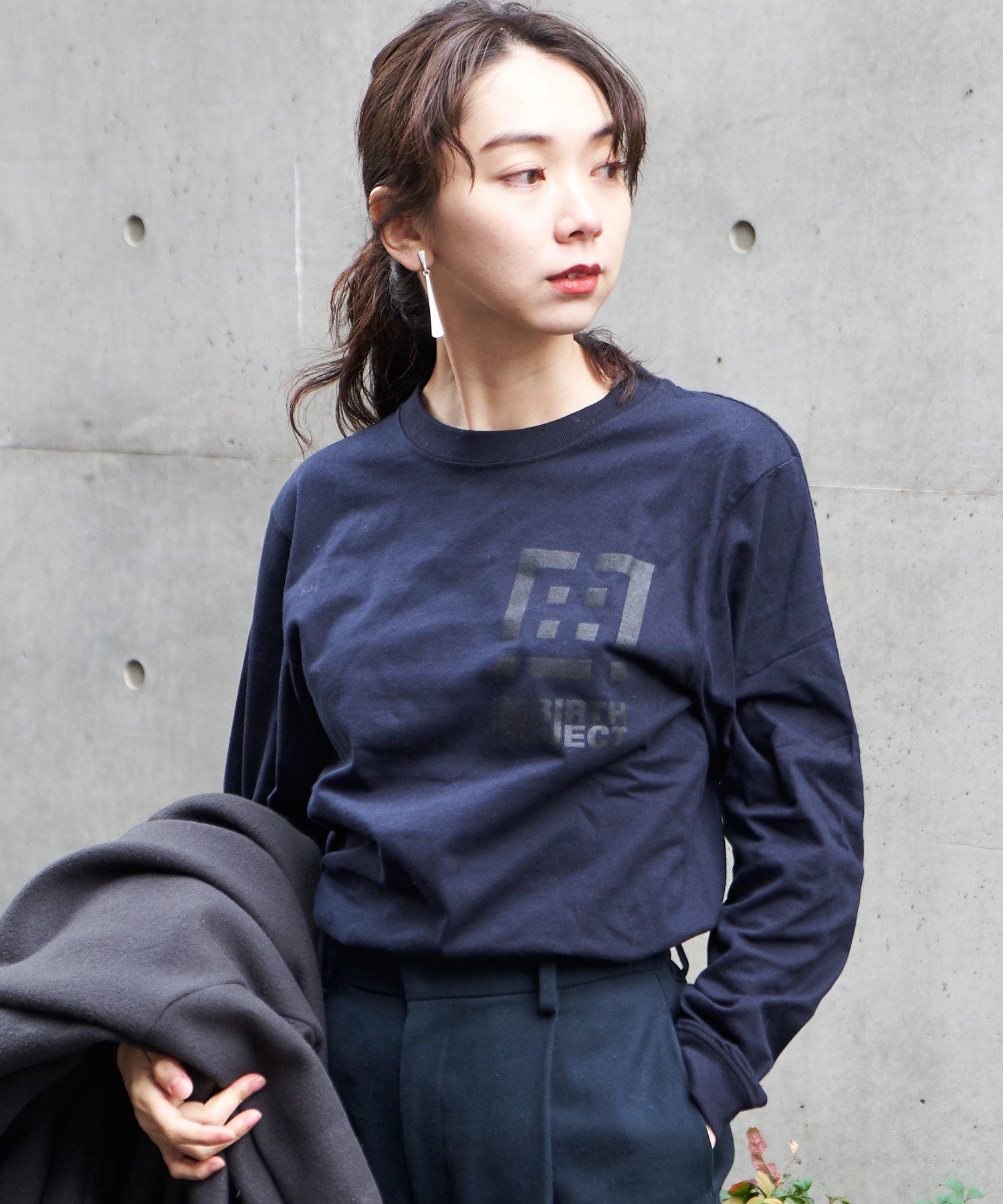 【REBIRTH PROJECT】同色ロゴ ロングスリーブTシャツ NVY