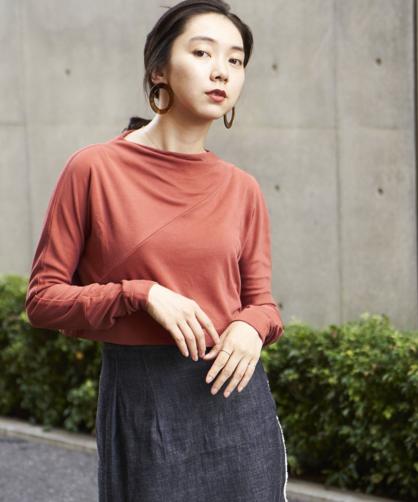 【COSSAC】boat neck tops RED
