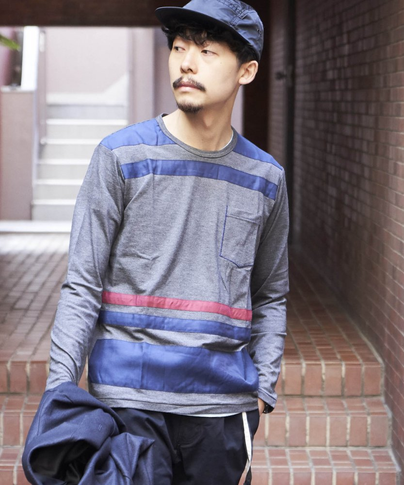 【PIED PIPER REBIRTH PROJECT】ポケットボーダーカットソー D.GRY