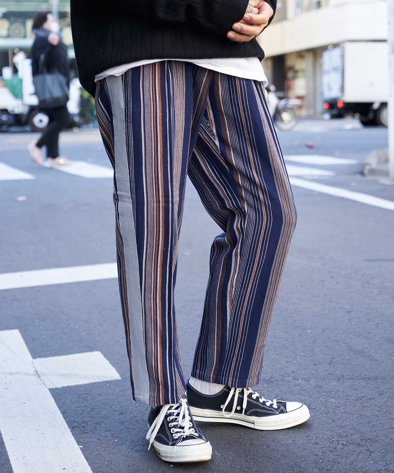 【wakami】Line pants NVY