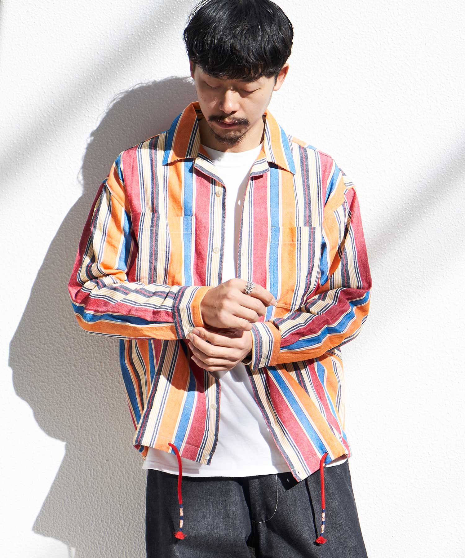 <img class='new_mark_img1' src='https://img.shop-pro.jp/img/new/icons15.gif' style='border:none;display:inline;margin:0px;padding:0px;width:auto;' />【wakami】OPEN COLLAR L/S SHIRTS MLT